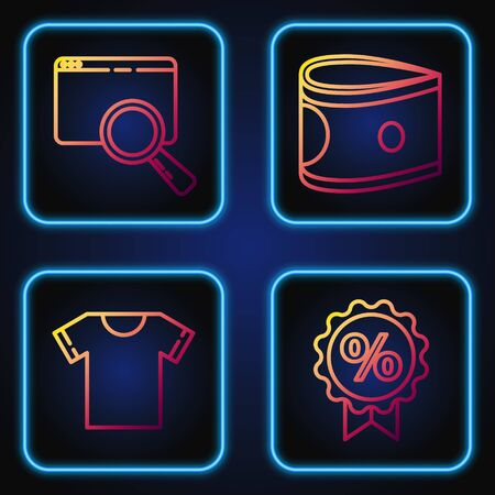 Set line Discount percent tag, T-shirt, Search in a browser and Stacks paper money cash. Gradient color icons. Vector 版權商用圖片 - 142084034