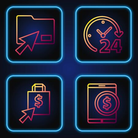 Set line Tablet with dollar, Shoping bag and dollar, Cursor click document folder and Clock 24 hours. Gradient color icons. Vector
