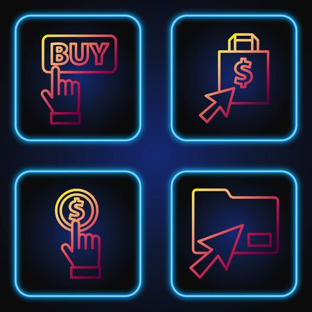 Set line Cursor click document folder, Hand holding coin, Buy button and Shoping bag and dollar. Gradient color icons. Vector