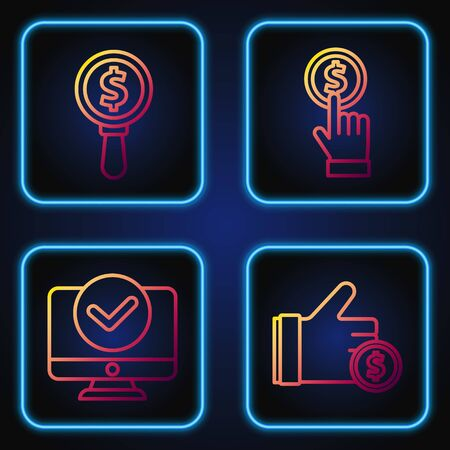 Set line Hand holding coin, Computer monitor, Magnifying glass and dollar and Hand holding coin. Gradient color icons. Vector  イラスト・ベクター素材