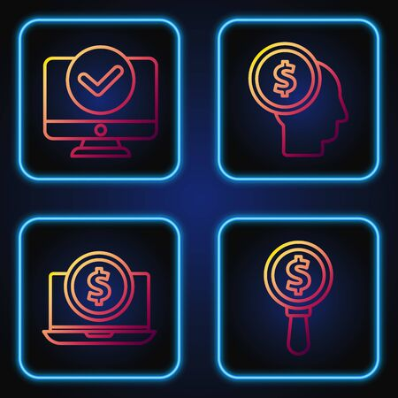 Set line Magnifying glass and dollar, Laptop with dollar, Computer monitor and Business man planning mind. Gradient color icons. Vector