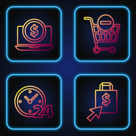 Set line Shopping bag and dollar, Clock 24 hours, Laptop with dollar and Remove shopping cart. Gradient color icons. Vector Ilustracja