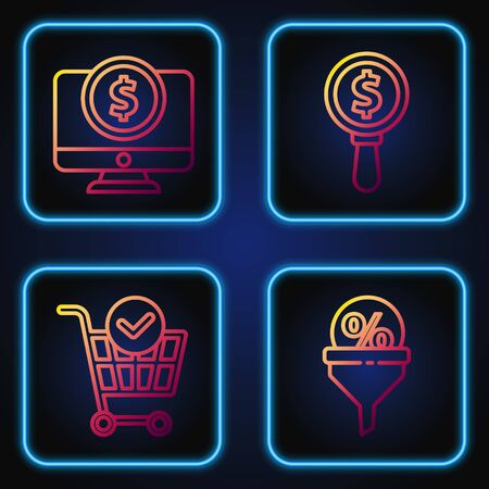 Set line Lead management, Shopping cart with check mark, Computer monitor with dollar and Magnifying glass and dollar. Gradient color icons. Vector