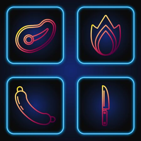 Set line Knife, Sausage, Steak meat and Fire flame. Gradient color icons. Vector