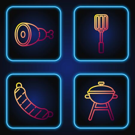 Set line Barbecue grill, Sausage, Chicken leg and Spatula. Gradient color icons. Vector