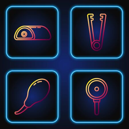 Set line Frying pan, Chicken leg, Meat and Meat tongs. Gradient color icons. Vector