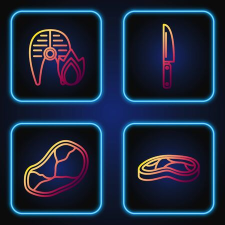 Set line Steak meat, Steak meat, Grilled fish steak and fire flame and Knife. Gradient color icons. Vector