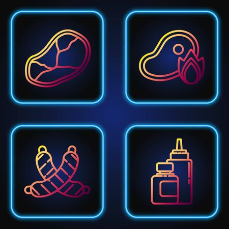 Set line Sauce bottle, Crossed sausage, Steak meat and Grilled steak meat and fire flame. Gradient color icons. Vector