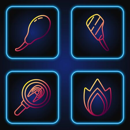 Set line Fire flame, Fish steak in frying pan, Chicken leg and Rib eye steak. Gradient color icons. Vector