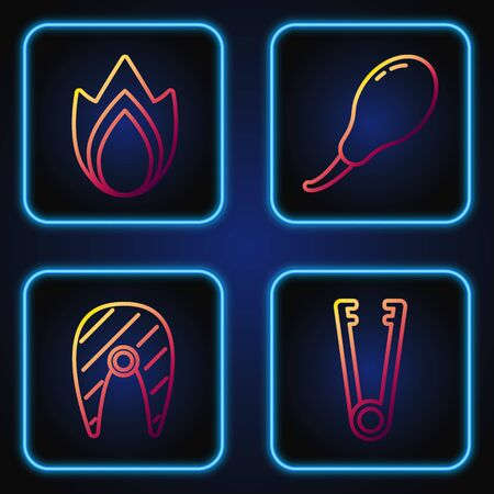 Set line Meat tongs, Fish steak, Fire flame and Chicken leg. Gradient color icons. Vector