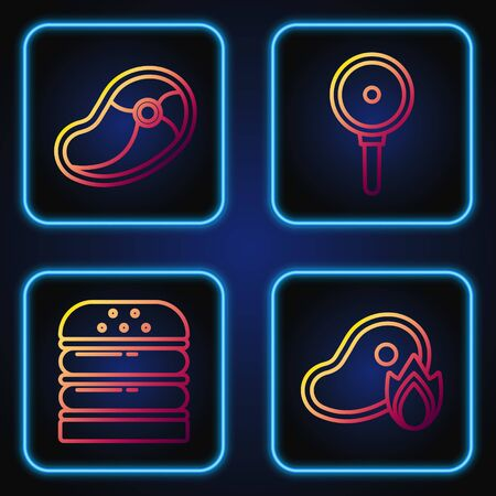 Set line Grilled steak meat and fire flame, Burger, Steak meat and Frying pan. Gradient color icons. Vector 向量圖像
