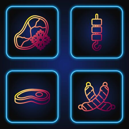 Set line Crossed sausage, Steak meat, Fresh frozen steak meat and Grilled shish kebab on skewer stick. Gradient color icons. Vector