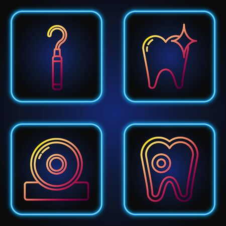Set line Tooth with caries, Otolaryngological head reflector, Dental explorer scaler for teeth and Tooth whitening concept. Gradient color icons. Vector