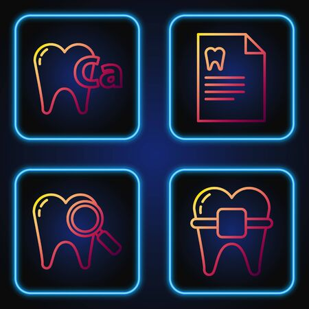 Set line Teeth with braces, Dental search, Calcium for tooth and Clipboard with dental card. Gradient color icons. Vector
