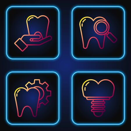 Set line Dental implant, Tooth treatment procedure, Tooth and Dental search. Gradient color icons. Vector