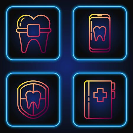 Set line Clipboard with dental card, Dental protection, Teeth with braces and Online dental care. Gradient color icons. Vector