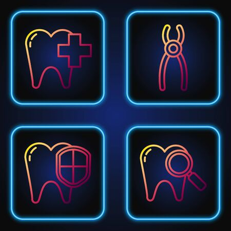 Set line Dental search, protection, Dental clinic for dental care tooth and pliers. Gradient color icons. Vector
