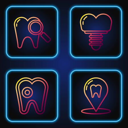Set line Dental clinic location, Tooth with caries, Dental search and Dental implant. Gradient color icons. Vector
