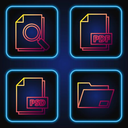Set line Document folder, PSD file document, Document with search and PDF file document. Gradient color icons. Vector  イラスト・ベクター素材