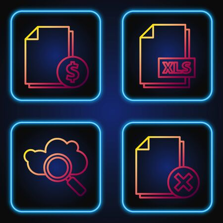 Set line Delete file document, Search cloud computing, Finance document and XLS file document. Gradient color icons. Vector  イラスト・ベクター素材