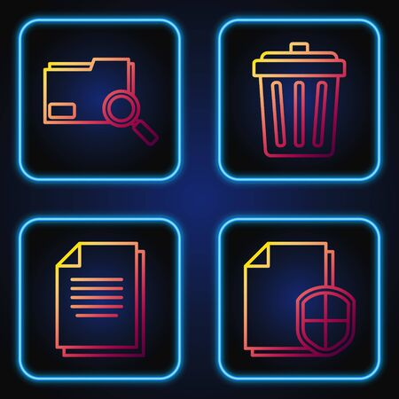 Set line Document protection concept, Document, Search concept with folder and Trash can. Gradient color icons. Vector