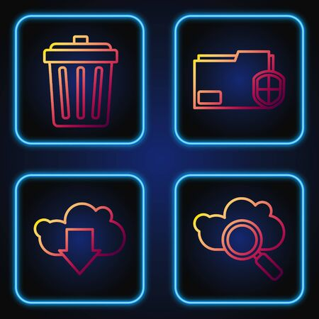 Set line Search cloud computing, Cloud download, Trash can and Document folder protection. Gradient color icons. Vector  イラスト・ベクター素材
