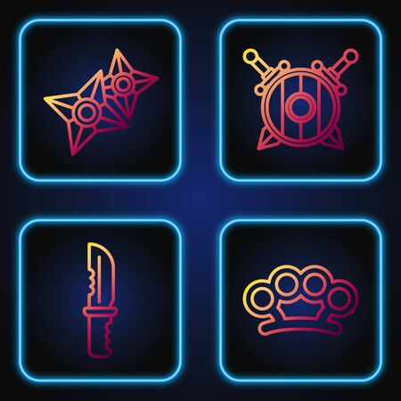 Set line Brass knuckles, Military knife, Japanese ninja shuriken and Wooden shield with crossed swords. Gradient color icons. Vector