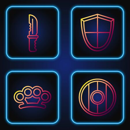 Set line Round wooden shield, Brass knuckles, Military knife and Shield. Gradient color icons. Vector