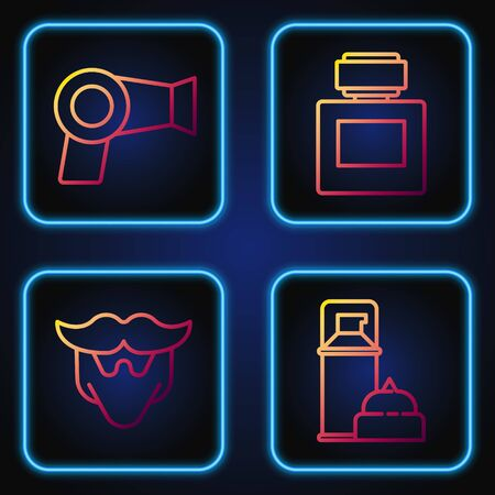 Set line Shaving gel foam, Mustache and beard, Hair dryer and Aftershave. Gradient color icons. Vector