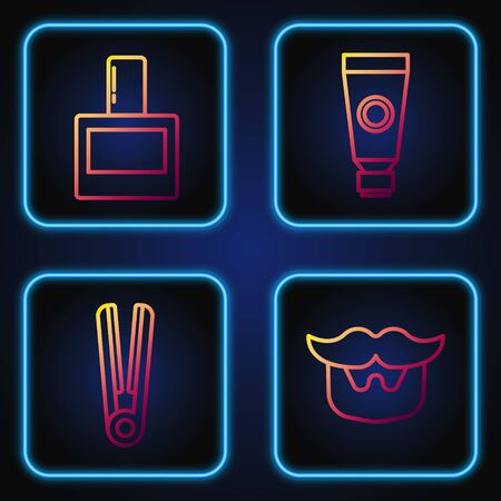 Set line Mustache and beard, Curling iron for hair, Aftershave and Cream or lotion cosmetic tube. Gradient color icons. Vector