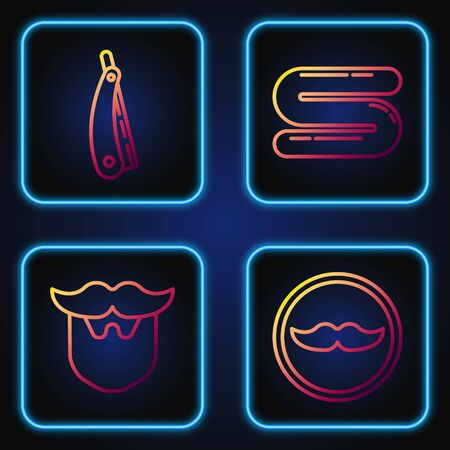 Set line Mustache, Mustache and beard, Straight razor and Towel. Gradient color icons. Vector