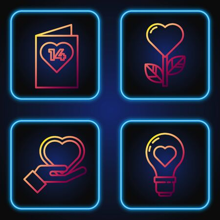 Set line Heart shape in a light bulb, Heart on hand, Valentines day flyer with heart and Heart shape in a flower. Gradient color icons. Vector