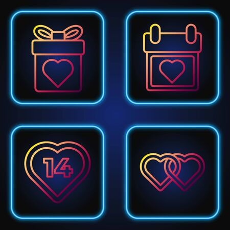 Set line Two Linked Hearts, Heart, Gift box with heart and Calendar with heart. Gradient color icons. Vector Standard-Bild - 142084799