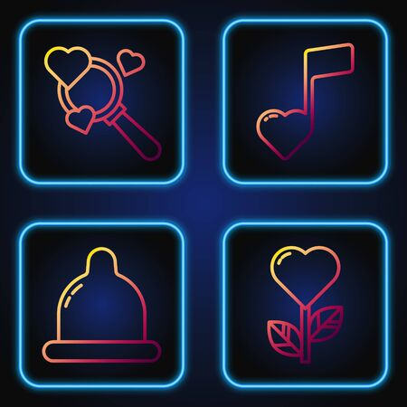 Set line Heart shape in a flower, Condom, Search heart and love and Music note, tone with hearts. Gradient color icons. Vector