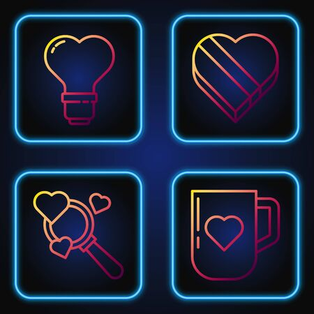 Set line Coffee cup and heart, Search heart and love, Heart shape in a light bulb and Candy in heart shaped box. Gradient color icons. Vector  イラスト・ベクター素材