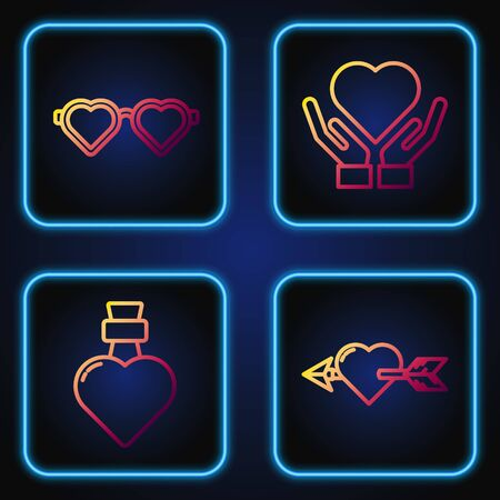 Set line Amour with heart and arrow, Bottle with love potion, Heart shaped love glasses and Heart on hand. Gradient color icons. Vector