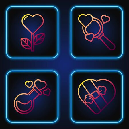 Set line Candy in heart shaped box, Bottle with love potion, Heart shape in a flower and Search heart and love. Gradient color icons. Vector