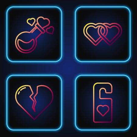 Set line Please do not disturb with heart, Broken heart or divorce, Bottle with love potion and Two Linked Hearts. Gradient color icons. Vector