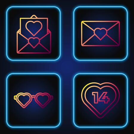 Set line Heart, Heart shaped love glasses, Envelope with Valentine heart and Envelope with Valentine heart. Gradient color icons. Vector