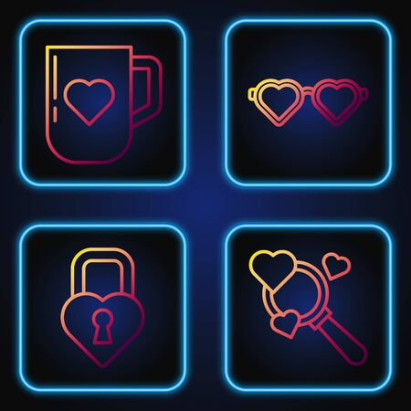 Set line Search heart and love, Castle in the shape of a heart, Coffee cup and heart and Heart shaped love glasses. Gradient color icons. Vector