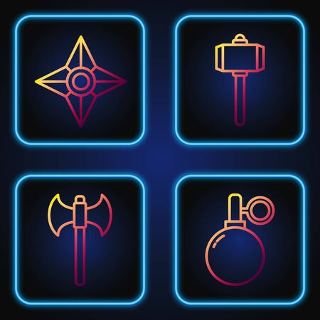Set line Hand grenade, Medieval axe, Japanese ninja shuriken and Battle hammer. Gradient color icons. Vector