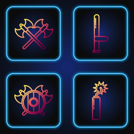 Set line Dynamite bomb stick clock, Medieval shield with crossed axes, Crossed medieval axes and Police rubber baton. Gradient color icons. Vector