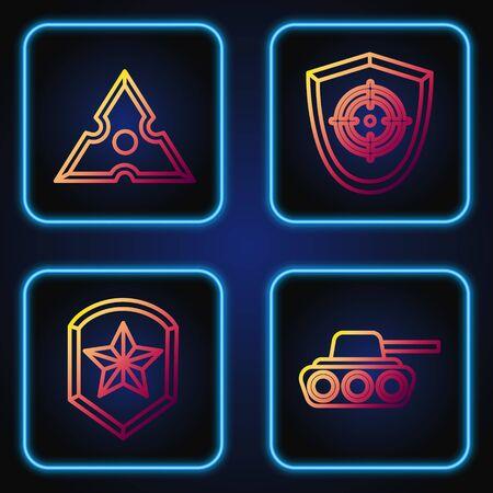 Set line Military tank, Police badge, Japanese ninja shuriken and Target sport. Gradient color icons. Vector