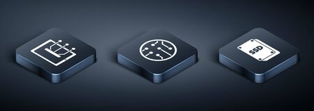 Set Isometric Tablet, SSD card and Processor icon. Vector