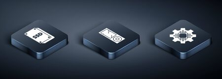 Set Isometric SSD card, Processor and Music player icon. Vector Иллюстрация