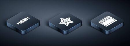 Set Isometric Candy, Calendar and Christmas star icon. Vector Standard-Bild - 142199741