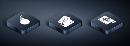 Set Isometric Bomb ready to explode, Oath on the Holy Bible and Envelope icon. Vector