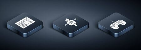 Set Isometric Software, web developer programming code, Remote control and Robot icon. Vector Illustration