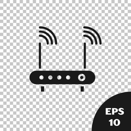 Black Router and wifi signal symbol icon isolated on transparent background. Wireless modem router. Computer technology internet. Vector Illustration