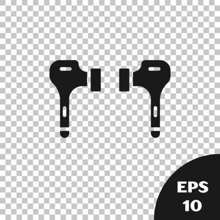 Black Air headphones icon icon isolated on transparent background. Holder wireless in case earphones garniture electronic gadget. Vector Illustration